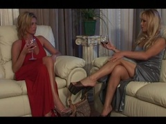 Elegant blonde moms in evening gowns hook up movies at lingerie-mania.com