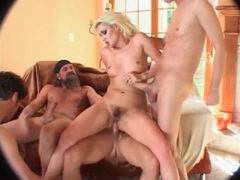 Hairy bitch fucked in all holes in gangbang videos
