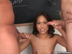 Stockings girl in classroom sucks a pair of dicks movies