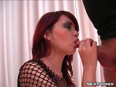 Redheaded slut in fishnets sucks a hot dick movies at kilotop.com