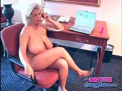Chubby blonde milf fondles big tits in hotel videos