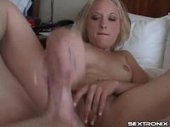 Handjob blowjob combo from skinny girl gets facial videos