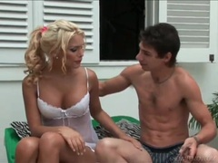 Hot blonde shemale in white lingerie sucks dick movies at kilotop.com