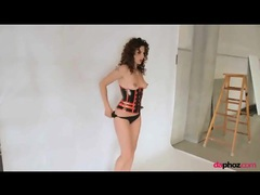 Latex corset on girl with curly red hair movies at adspics.com
