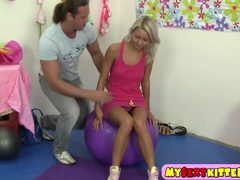 Young blondie fucked on the fitness ball clip