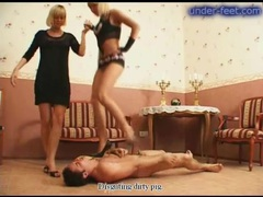 Babes beat and trample him and he suffers pain videos