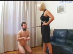 He wears a collar and submits to her man movies at sgirls.net