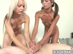 Two skinny teens stroke his dick lustily movies at kilopics.net