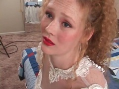 Redhead in wedding dress models her pussy movies at find-best-hardcore.com