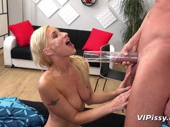 Nasty blonde wants his piss all over her face tubes