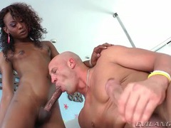 Skinny black shemale with big cock barebacks his ass videos