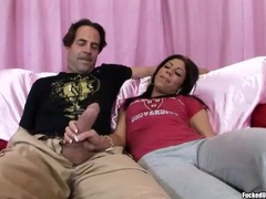 Sweet eva ellington jerks him off to orgasm movies at freekilomovies.com