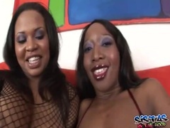 Curvy ebony lesbos with a dildo get it on movies at lingerie-mania.com