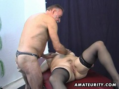Old amateur couple home action with cum on tits videos