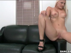 Bleach blonde strips in the casting couch room movies at sgirls.net