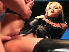 Uniformed babe sex in gloves and latex lingerie videos