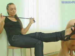 He worships the feet of clothed mistress videos