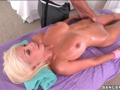 Puma swede on massage table for rubdown videos