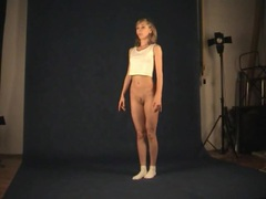 Teen dancer shows her skinny body in photo studio videos