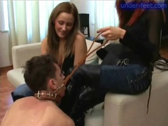 Babes demand leather boot worship with slave movies at find-best-panties.com