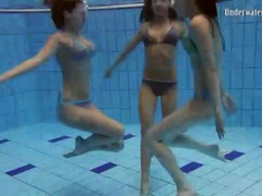 Go swimming with three girls in bikinis videos