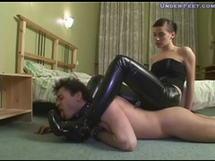 Girl in tight leather pants dominates him videos