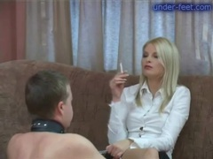 Leashed guy submits to babe in boots videos