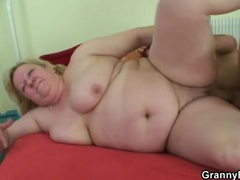 Fat old slut sucks ketchup off cock and bangs videos
