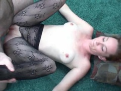 Freckled beauty in body stocking licked and sucking videos