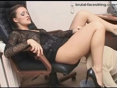 Gorgeous mistress in a skirt needs worship in office movies at very-sexy.com