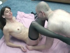 He goes down on brunette milf in stockings videos