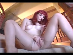 Petite babe masturbating in crotchless hosiery movies at kilopills.com