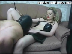 Mistress in red lipstick gets pussy and ass worshiped clip