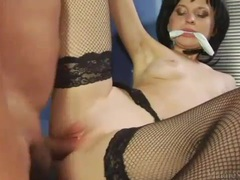 Wicked sexy brunette in fishnets laid movies at kilotop.com