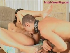 Hottie has him on a leash and sits on his face movies