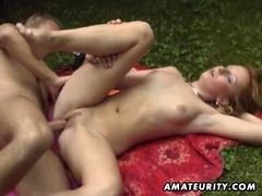 Blonde amateur girlfriend outdoor action with cum in mouth videos