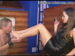 Leather looks good on mistress demanding worship videos