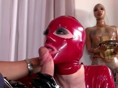 Latex hood on slut sucking big cock movies at lingerie-mania.com