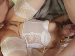 Fatty in white lingerie plowed in two holes videos