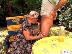 Old lady sucks thick dick outdoors videos
