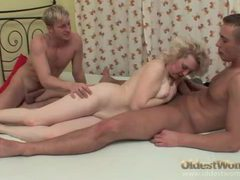 Old lady in lingerie stripped and fucked by two guys movies