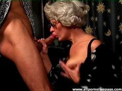 Gray hair granny on her knees sucking cock videos