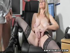 Busty amateur milf sucks and fucks with cum on boots movies at lingerie-mania.com