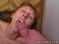 Redhead amateur milf double blowjob, anal and double facial cumshots movies