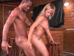 Beautiful blonde tranny blows big black cock videos