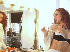 Redhead gets her hair done and teases her body movies at kilotop.com
