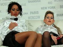 Champagne drinking girls in white satin blouses videos