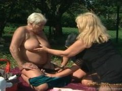 Bottle fucking granny ladies in threesome movies at lingerie-mania.com