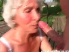 Granny sucks him off outdoors movies at very-sexy.com