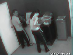 Laundry room fuck caught on security camera videos